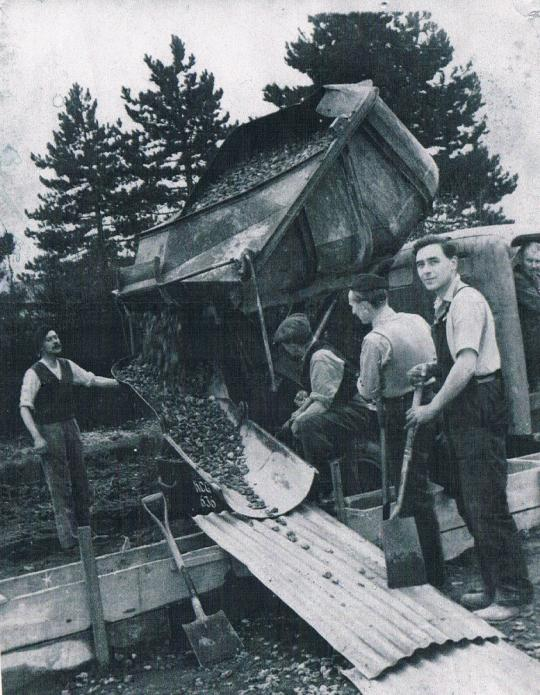 "1950's - how it used to be done - ""shovel and sweat"""